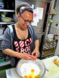 En pleine préparation de la pâte