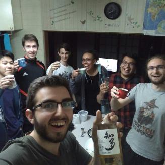 Xavier (en 1er plan), puis Kazuya, Pawel, Philippe, moi, Daniel et Flavien